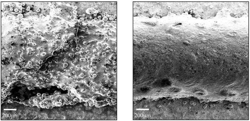 (图2) 激光熔融沉积成形表面(左)及激光重熔后的表面(右).png